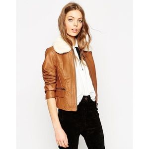 ASOS genuine leather jacket with faux fur collar